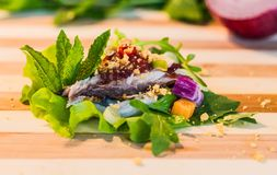 A bite variety of healthy food. A big bite variety of healthy food, mackerel, green salad, shallot, lemongrass, carrot, peanut, lime, mint, rocket with sweet and Royalty Free Stock Images