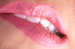 Bite your pink lips. Sexy lips biting lower lip with wet glossy pink lipstick Royalty Free Stock Photos
