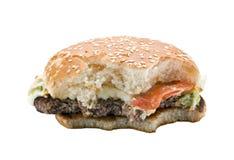 Biten hamburgare arkivbild