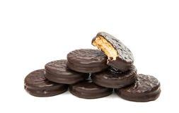 Biten ljusbrun smörgås med choklad arkivfoto