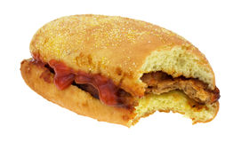 Biten smörgås för grisköttstöd fotografering för bildbyråer