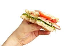 biten smörgås för handholdingman s arkivfoton