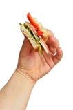 biten smörgås för handholdingman s royaltyfri fotografi