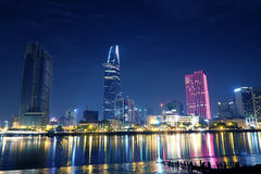 Bitexco tower at night. A beautiful view of Bitexco Tower at night Royalty Free Stock Images