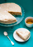 Bithday cake. Slice of cake with tea on the table Stock Image
