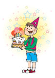 Bithday's cake. A boy and his birthday's cake royalty free illustration
