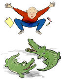 Biting alligators. Man jumping to avoid biting alligators vector illustration