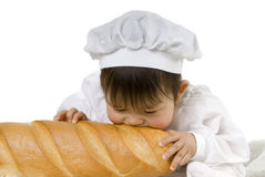 Biting baguette Stock Photo