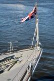 Bitish flag. British flag at the war ship royalty free stock photos
