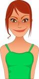 Bitmap van de klemkunst sassy sexy roodharigevrouw in groene bovenkant vector illustratie