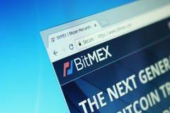 Bitmex exchange. Website of bitmex cryptocurrency exchange on computer screen royalty free stock images