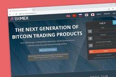 Bitmex websitehemsida Nästa generationen av bitcoincryptocurrencyen som handlar produkter för arkivbilder