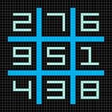 8-bitPIXEL Art Magic Square med nummer 1-9 royaltyfri illustrationer