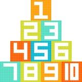 8-bitPIXEL-konst nummer 1-10 kvarter som är ordnade i en pyramid Royaltyfri Bild