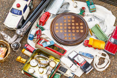 Bits and bobs displayed at a junk shop in Old Spitalfields Market. In London royalty free stock images