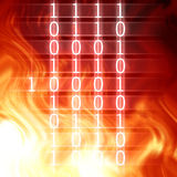 Bits and bytes. On a fire like background Stock Images