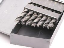 Bits de foret dans un cadre en métal Photos stock