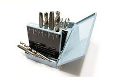 Bits e torneiras de broca em uma caixa do metal fotografia de stock royalty free