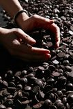 Pieces of dark chocolate. Bits and pieces of dark chocolate closeup Stock Photo