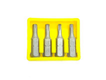 Bits for the screwdriver with a different slot Royalty Free Stock Image