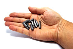 Bits for screwdrivers in male hand isolated Royalty Free Stock Image