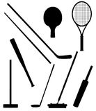 Bits and stick to sports black silhouette vector i Royalty Free Stock Photo