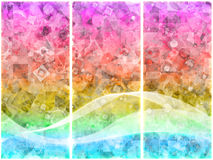 Bits triptych. Colorful triptych with bits and pieces of geometric shapes Royalty Free Stock Photo
