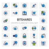 BitShares Crypto Currency icons set. For web design and application interface, also useful for infographics. Vector illustration Royalty Free Stock Images