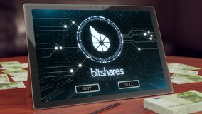 Bitshares cryptocurrencylogo på PCminnestavlan, illustration 3D royaltyfri illustrationer