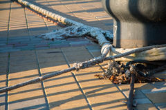 Bitt and mooring lines on a quay. Stock Photography
