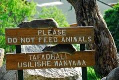 Bitte speisen Sie nicht Tiere lizenzfreie stockfotos