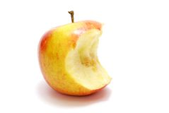 Bitten Apple. Isolated on White Stock Photo