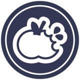 Bitten apple circular icon. A creative illustrated bitten apple circular icon image vector illustration