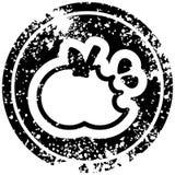 Bitten apple distressed icon. A creative illustrated bitten apple distressed icon image vector illustration