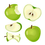 Bitten apple, whole, half and slice isolated on white background Royalty Free Stock Images