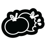 Bitten apples icon. A creative illustrated bitten apples icon image vector illustration