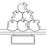 Bitten apples sale coloring book vector. Bitten apples on sale coloring retro vector illustration. Isolated image on white background background. Comic book Stock Image
