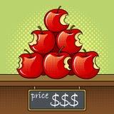 Bitten apples sale pop art vector illustration. Bitten apples on sale pop art retro vector illustration. Color background. Comic book style imitation Stock Image