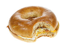Bitten breakfast bagel Stock Photo