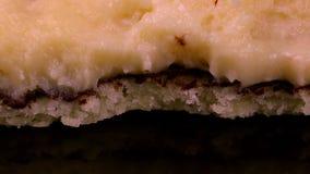 Bitten cake close up stock footage