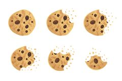 Bitten chip cookie vector illustration. Set royalty free illustration