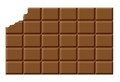 Bitten Chocolate Bar. An illustrated background of a bitten chocolate bar, isolated on a white background Royalty Free Stock Photography