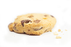 Bitten chocolate chip cookie. Isolate on white background Royalty Free Stock Image