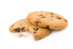 Bitten chocolate chip cookies Stock Photography