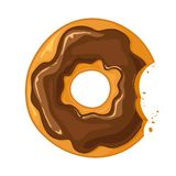Bitten Chocolate Donut. Bitten donut with chocolate glaze and crumbs isolated on white background. Delicious breakfast, illustration stock illustration