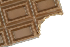 Bitten chocolate on white background Royalty Free Stock Photo
