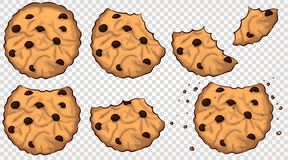 Bitten cookies with chocolate chip. Vector set stock illustration