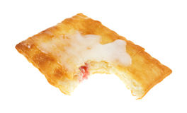 Bitten cream cheese and strawberry pastry Royalty Free Stock Images