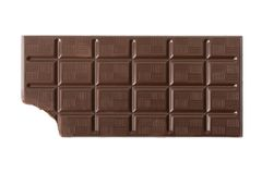 Bitten dark chocolate bar Stock Images