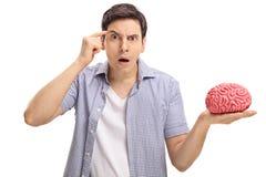 Bitten des jungen Mannes haben Sie ein Gehirn Lizenzfreie Stockbilder